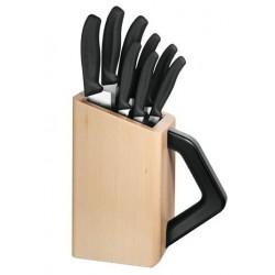 Bloc cuisine universel 8 couteaux Victorinox manches noirs