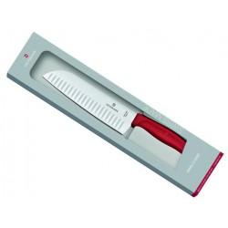 Couteau Santoku Victorinox SwissClassic 17cm alvéolé rouge - en boîte