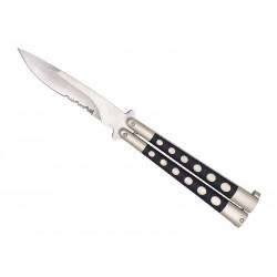 Couteau papillon Herbertz noir à dents