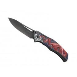 Couteau Herbertz alu noir motif dragon rouge