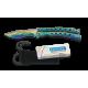 Couteau papillon Rainbow manche courbé ajouré 02127