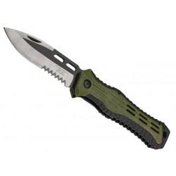 Couteau Herbertz ABS vert/noir 12,5cm inox semi-dentée