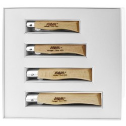 Coffret 4 couteaux MAM hêtre lame titanium noir