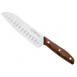Couteau Santoku Due Cigni 1896 noyer lame alvéolée 175mm
