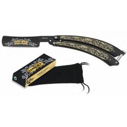 Couteau papillon rasoir Rainblack 02175 noir/jaune