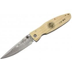 Couteau Mcusta Sengoku MC-185D Damas micarta blanc