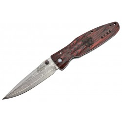Couteau Mcusta Sengoku MC-183D Damas Pakka Wood rouge