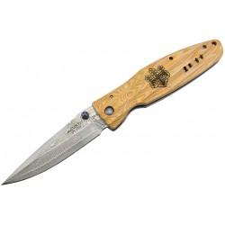 Couteau Mcusta Sengoku MC-182D Damas Pakka Wood jaune